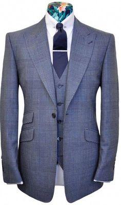 The Morgan Blue On Blue Check from William Hunt Savile Row Der Gentleman, Gentleman Style, Gentleman Fashion, Mode Masculine, Sharp Dressed Man, Well Dressed Men, Mens Fashion Suits, Mens Suits, Designer Suits For Men