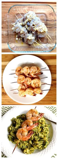 Easy Dinner Idea! Pasta with Pesto and Grilled Garlic Shrimp - Jeanette's Healthy Living
