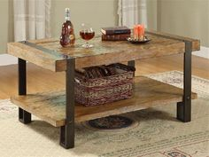 reclaimed wood coffee table with metal trim | for the home