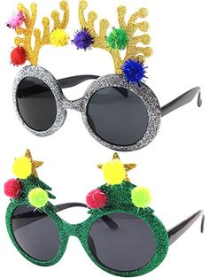 Christmas Sun Glasses Costume Accessory Novelty Glitter Xmas Tree and Reindeer Antler Sunglasses