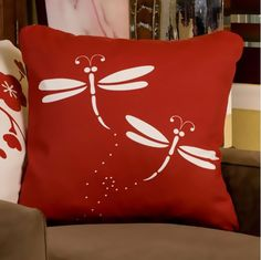 Dragonfly Eco Art Throw Pillows from Picsity.com