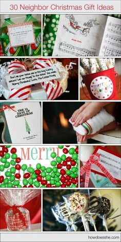 30 ideas for Christmas gifts for your neighbors! Could also be used for co-workers / secret santa gifts;