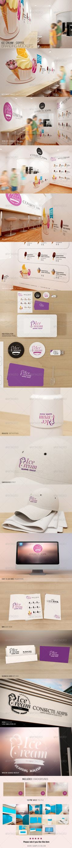 Ice Cream – Coffee Branding Mockups With smart object, easy to paste your design 13 Pre made psd file High Resolution 3000×2000 Views are cpmmected om space from view 1 to 13 Includy option visitor Highly detailed Presents menu on the wall Realistic depth of field Embroidered effect Easy to use make presentation Logo simulation 3D Included 3 backgrounds    http://graphicriver.net/item/ice-cream-coffee-branding-mockups/7228959?WT.ac=portfolio&WT.seg_1=portfolio&WT.z_author=Wutip