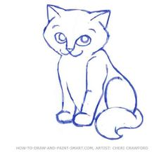 how do you draw a warrior cat | How to Draw a Cat Face Step 8