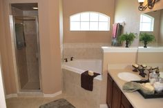 Need a bathroom to pamper yourself after a long day?  Check out the luxury bath in this Owenburg floor plan by Highland Homes.