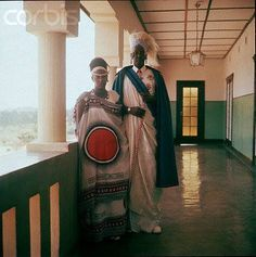 The King and his Queen in their full regalia. Nyanza Palace
