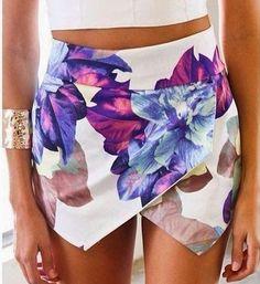 Asymmetrical Flower Print White Skort Skirt Shorts