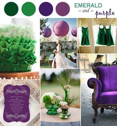 emerald and purple wedding color ideas and wedding invitations