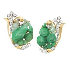 Pair of Gold, Platinum, Carved Jade and Diamond Earrings circa 1945