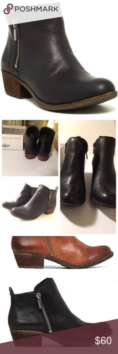 "Booties Brand new retails for $99 Smooth leather upper Side zip entry for easy on/off Synthetic lining and sock Rubber outsole Approx. 1.2"" stacked heel Lucky Brand Shoes Ankle Boots & Booties"