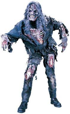 Komplettkostüm Zombie mit Maske und Perücke - M/L