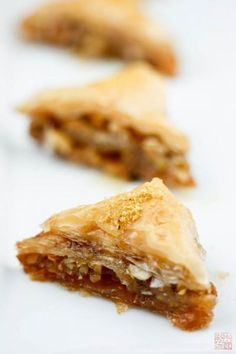 A classic Greek Baklava pastry recipe produces this crispy, nutty, flaky treat with thyme honey.