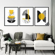 Set of 3 Mustard Art Prints Mustard Wall Art Yellow Wall Mustard And Grey Bedroom, Mustard Walls, Mustard Living Rooms, Grey And Yellow Living Room, Living Room Prints, Living Room Designs, Living Room Decor, Living Pequeños, Yellow Home Decor