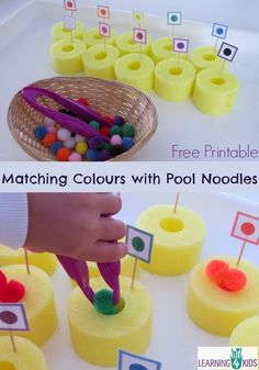 Matching colours with pool noodles - fine motor activity and colour recognition with free printable. Motor Skills Activities, Gross Motor Skills, Color Activities, Sensory Activities, Preschool Activities, Sensory Diet, Preschool Learning, Early Learning, Learning Activities