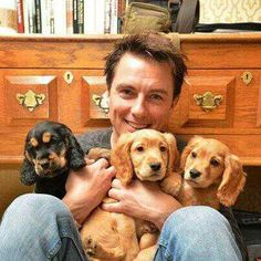 I don't think you could fit more adorableness in one picture.  John Barrowman and puppies!