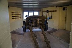PAK 40 anti-tank gun inside a restored bunker in the AtlantikWall museum in Belgium.