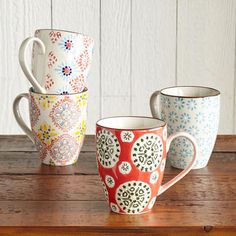 BOHEME MUGS -- It's said that variety is the spice of life—celebrate that thought with ceramic dinnerware in a mismatched medley of pattern and color. Dishwasher and microwave safe. Imported. Set of 4. 12 oz.