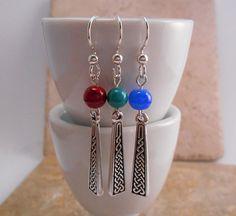Celtic Design Dangle Earrings  Silver Dangle by ByEJewelry on Etsy