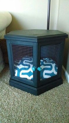 End table dog bed. Definitely going to be making this! What of this Shawn? End Table Dog Bed, Dog Furniture, Furniture Market, Steel Furniture, Repurposed Furniture, Cheap Furniture, Malbec, Diy Dog Crate, Dog Cages