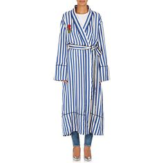 Off-White c/o Virgil Abloh Women's Striped Appliquéd Robe Coat ($2,670) ❤ liked on Polyvore featuring outerwear, coats, blue coat, off white coat, belted coat, striped coat and tie belt