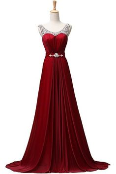 New Women's Beaded Chiffon Evening Dresses Formal Long Evening Gowns Red US4