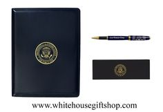 """Air Force One Portfolio and Two-Piece High Profile Lacquer Pen, White House Seal Pen Box, Refills Available in Pen Section, Gold Embossed Seal, Inside Flap, Pen Slot, Card Holder, Stitched, 8.5"""" x 11"""" Paper Pads. Enter Promo Code """"PIN"""" for 10% off your entire order!"""