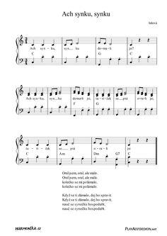 Ach synku, synku I. Music School, Sheet Music, Songs, Youtube, Music Score, Music Sheets, Youtube Movies