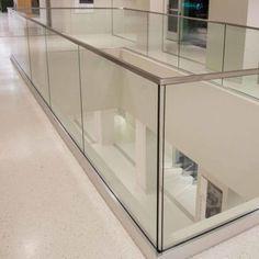 Glass railing with solid aluminum base – Yurihomes Balcony Glass Design, Glass Balcony Railing, Balcony Railing Design, Glass Stairs, Home Stairs Design, Balcony Grill, Glass Fence, Glass Handrail, Glass Balustrade
