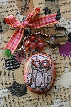 Dog Lovers Gift  Nerd Dog Brooch in Orange by BlackCatCreativeStd
