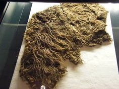 """Shaggy fabric. """"Scrap of shaggy pile vaðmál, in which coarse locks of wool, röggvar, are woven into the fabric. Pile-woven cloaks, röggvarfeldir, were an export commidity in the early Middle Ages, 11th or 12th century.""""latestresearch - zoemcdonell"""