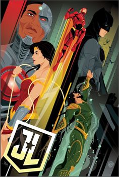 Justice League Movie Poster 2017 Showing Wonder Woman, Cyborg, Flash, Batman and Aquaman, Check out 19 Justice League Easter Eggs and Missed Details - DigitalEntertainmentReview.com