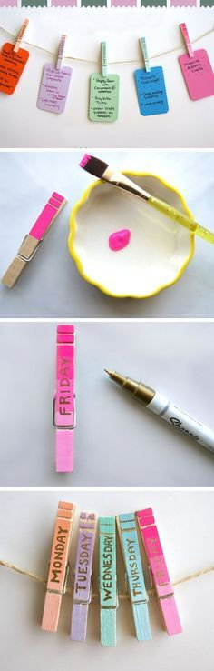 Clothespin Daily Organizers | 26 Life Hacks Every Girl Should Know | Easy Organization Ideas for Bedrooms