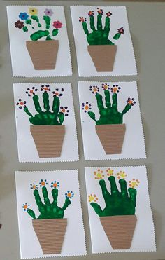 Carte pot de fleurs PS #kid-hand-painting #kid-ideas