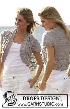 100-16 shrug with short sleeves knitted in bobble and lace pattern