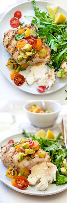 Frugal Food Items - How To Prepare Dinner And Luxuriate In Delightful Meals Without Having Shelling Out A Fortune Grilled Halibut With Tomato Avocado Salsa - Everyone Can Become A Master At Grilling Fish. This Recipe Is So Easy And So Fresh. Fish Dishes, Seafood Dishes, Fish And Seafood, Seafood Recipes, Paleo Recipes, Cooking Recipes, Tilapia Recipes, Grilled Halibut Recipes, Grilled Salmon