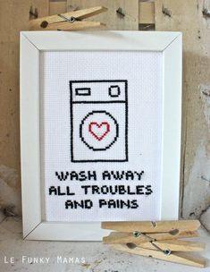 Uno schema a punto croce per dire grazie alla vostra lavatrice!