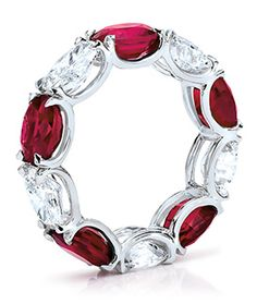 Oval Ruby and Diamond Eternity Band