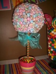 Candyland Theme Birthday Party: Frugal Idea #kids #candy.  I would do this anyways for everyday use... I love dum dums!!!