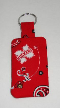 Nebraska Huskers Keychain with Pocket by BrunosBling on Etsy