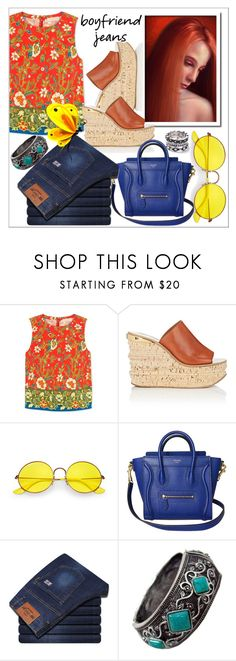 """Borrowed from the Boys: Boyfriend Jeans"" by stylematters61 ❤ liked on Polyvore featuring Tory Burch, Chloé, Ray-Ban and WithChic"