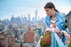 Denim Jacket With Bow Detail At Sleeves & Levi Stripe Midi Dress// #photoshoot #lookbook #fall #winter #fw17 #pink #dress #mididress #knit #stripe #denim #jacket #denimjacket #date #desinger #thejetsetdiaries #tjd #englishfactory #la #losangeles #usa #madeinusa #bestfriendgoal #fashionstyle #fashiongram #fashionlover #fashionphotography #onlineshop #midtown #rooftop #ny #nyc #newyork #newyorkcity #manhattan #usa #thebigapple #taipei #taiwan