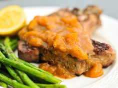 Sweet peaches contrast with the bite of ginger to create a contrasting, savory sauce that works magic on grilled pork chops. Entree Recipes, Sauce Recipes, Pork Recipes, Pork Chop Sauce, Peach Pork Chops, Mustard Bbq Sauce, Peach Sauce, Ginger Sauce, Grilled Pork Chops