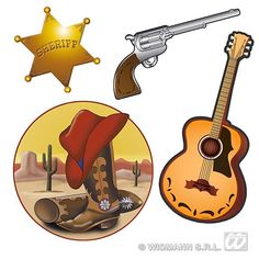 Western Decorations.  Decorate your walls for a Wild West Theme Party with this set of 4 Western Cutouts. Each cutout has a different Western Icon such as Cowboy Boots, Sheriff Badge, Guitar and Six Shooter. Each cutout is printed in colour on one side and measures 40cm. Western Party Decorations can be used for any western theme party.