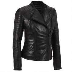 Marc New York Asymmetrical Leather Moto Jacket w/Quilting