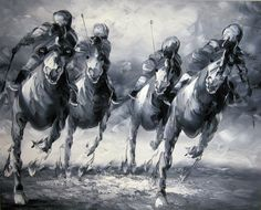 Four Horsemen. Oil painting by a student from the Ecole Beaux Arts in Paris - taken from a photo of the Melbourne Cup