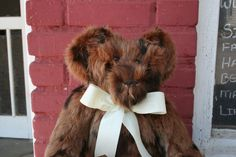 """This bear was made from a great old rabbit fur coat. 16"""" bear...Sold"""
