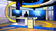 FOX Sports Live Concept - took the TVA concept and turned it into a FOX Sports Live set (the colors were already there so it made more sense than TVA). Tv Set Design, Stage Set Design, Screen Design, Plateau Tv, Diy Screen Printing, Tv Stand Designs, Virtual Studio, Hidden Tv, Live Set