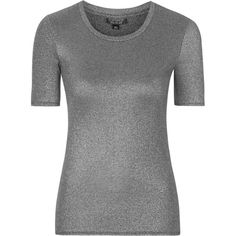 TOPSHOP TALL Metallic Tee ($33) ❤ liked on Polyvore featuring tops, t-shirts, silver, crew neck tee, metallic top, slim tee, longline t shirt and tall tees