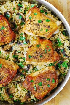 One-Pan Chicken Thighs with Mushroom Rice