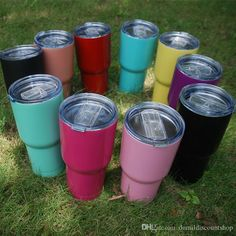 Wholesale Blanks Powder Coated Colored Tumblers Plain Solid Color Mugs Stainless Steel Cup with Slide Lids DOM103321 Online with $549.95/Piece on Domildiscountshop's Store | DHgate.com